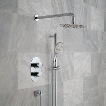 Vado DX Life Thermostatic Dual Concealed Mixer Shower with Shower Kit and Shower Wall Outlet + Fixed Head