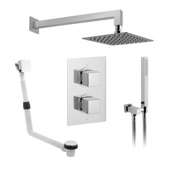 Vado DX Mix2 Thermostatic Dual Concealed Mixer Shower with Shower Kit and Bath Filler + Fixed Head