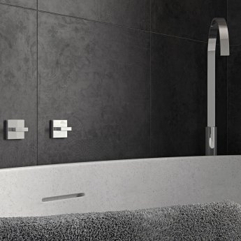 Vado Geo Floor Standing Bath Spout - Chrome