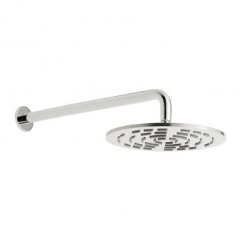 Vado Geometry Round Fixed Shower Head with Shower Arm 250mm Diameter - Chrome