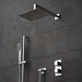 Vado Tablet Notion Thermostatic Dual Concealed Mixer Shower with Shower Kit and Shower Wall Outlet + Fixed Head