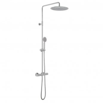 Vado Velo Aquablade Round Thermostatic Bar Mixer Shower with Shower Kit + Fixed Head