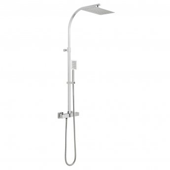 Vado Velo Aquablade Square Thermostatic Bar Mixer Shower with Shower Kit + Fixed Head