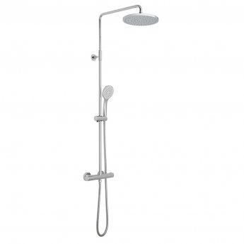Vado Velo Round Thermostatic Bar Mixer Shower with Shower Kit + Fixed Head