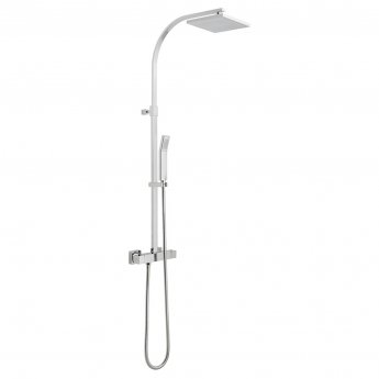 Vado Velo Square Thermostatic Bar Mixer Shower with Shower Kit + Fixed Head