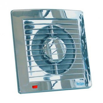 Vectaire AS10 Plus Fan Extractor with Overrun Timer 160mm H x 160mm W x 95mm D - Chrome