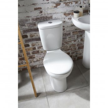 Verona Access Close Coupled Toilet WC Push Button Cistern - Standard Seat