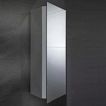 Verona Alcove Corner Mirrored Bathroom Cabinet 300mm Wide - Stainless Steel