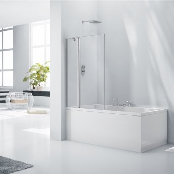 Verona Aquaglass+ Square Bath Screen with Fixed Panel 1400mm H x 800 W - 6mm Glass