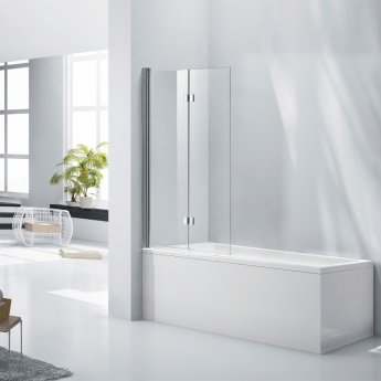 Verona Aquaglass+ Straight Hinged Bath Screen with Fixed Panel 1400mm H x 800mm W - 6mm Glass