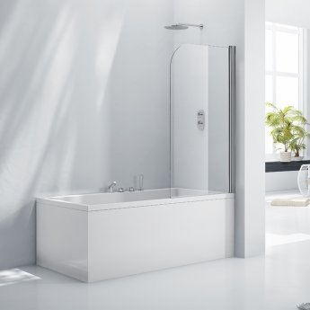 Verona Aquaglass+ Single Rise and Fall Bath Screen 1400mm H x 800mm W - 6mm Glass