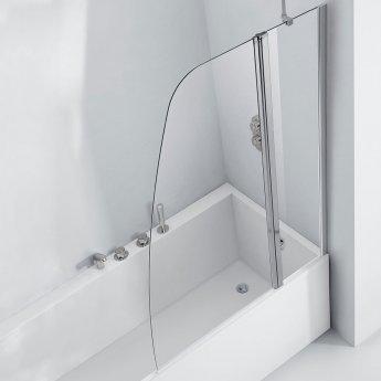 Verona Aquaglass+ Crescent Shape Bath Screen 1500mm H x 1200mm W - 6mm Glass