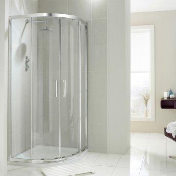 Verona Aquaglass+ Drift Offset Quadrant Shower Enclosure 900mm x 760mm - 8mm Glass