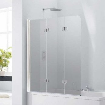 Verona Aquaglass+ Frameless 3 Fold Bath Screen LH 1400mm H x 1200mm W - Smoked Glass