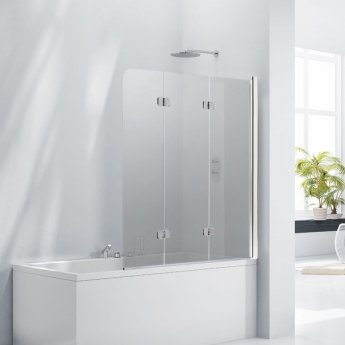 Verona Aquaglass+ Frameless 3 Fold Bath Screen RH 1400mm H x 1200mm W - Smoked Glass