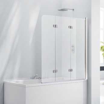 Verona Aquaglass+ Frameless 3 Fold Bath Screen RH 1400mm H x 1200mm W - 6mm Clear Glass