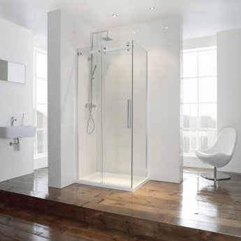 Verona Aquaglass+ Frameless Sliding Shower Door 1400mm Wide - 8mm Glass