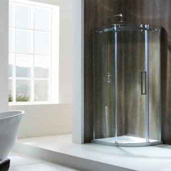 Verona Aquaglass+ Frameless Offset Quadrant 1 Door Shower Enclosure 1000mm x 800mm - Left Handed