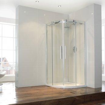 Verona Aquaglass+ Frameless Quadrant 2 Door Shower Enclosure 800mm x 800mm - 8mm Glass