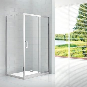 Verona Aquaglass Intro Sliding Shower Door 1400mm Wide - 8mm Clear Glass