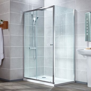 Verona Aquaglass Intro Sliding Shower Door 1600mm Wide - 6mm Clear Glass