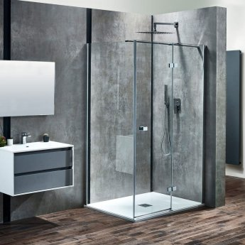 Verona Aquaglass+ Linear Hinged Shower Door 1400mm Wide - Right Handed