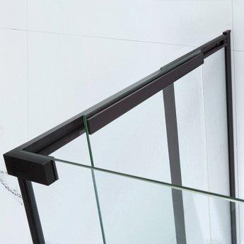 Verona Aquaglass Onyx Black Framed Sliding Shower Door 1400mm Wide - 8mm Glass