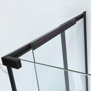 Verona Aquaglass Onyx Black Framed Sliding Shower Door 1700mm Wide - 8mm Glass