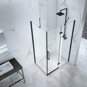 Verona Aquaglass Onyx Black Framed Hinged Shower Door with Inline Panel 1700mm Wide - 8mm Glass