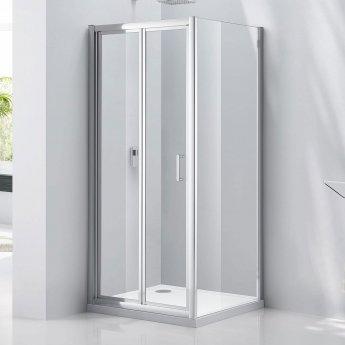 Verona Aquaglass Purity Bi-Fold Shower Door 900mm Wide - 6mm Glass
