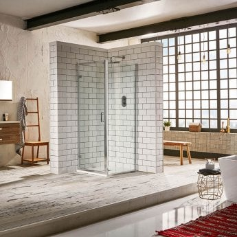 Verona Aquaglass Purity Hinged Shower Door 900mm Wide - 6mm Glass