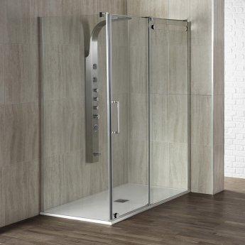 Verona Aquaglass+ Glide Sliding Shower Door 1400mm Wide - 10mm Glass
