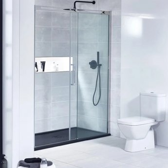 Verona Aquaglass+ Linear Sliding Shower Door 1400mm Wide - 8mm Glass