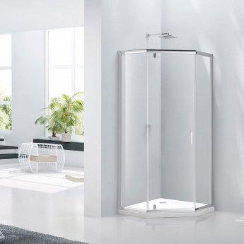 Verona Aquaglass Purity Hinged Door Pentagonal Shower Enclosure 900mm x 900mm - 6mm Glass