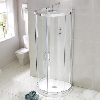Verona Aquaglass Purity D Shaped Shower Enclosure with Tray 900mm x 770mm - 6mm Glass