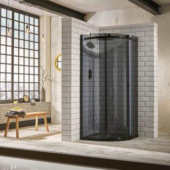 Verona Aquaglass+ Sphere Offset Quadrant 1 Door Shower Enclosure 1000mm x 800mm - RH Smoked Glass