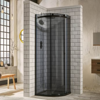 Verona Aquaglass+ Sphere Offset Quadrant 1 Door Shower Enclosure 1200mm x 900mm - RH Smoked Glass