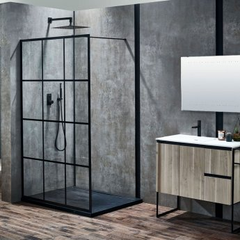 Verona Aquaglass+ Velar Walk-In Shower Panel 1200mm Wide with Support Bar - 8mm Glass