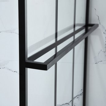 Verona Aquaglass Velar Black Crittall Walk-in Shower Panel 900mm Wide with Towel Rail - 8mm Glass