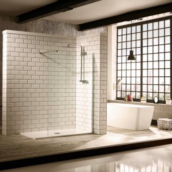 Verona Aquaglass+ Walk-in Shower Panel 900mm Wide with Stabilising Bar - 8mm Glass