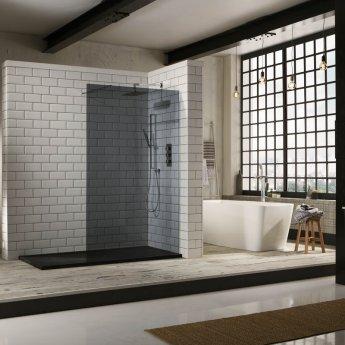 Verona Aquaglass+ Walk-In Shower Panel 800mm Wide - 10mm Tinted Glass