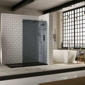 Verona Aquaglass+ Walk-In Shower Panel 1400mm Wide - 10mm Tinted Glass