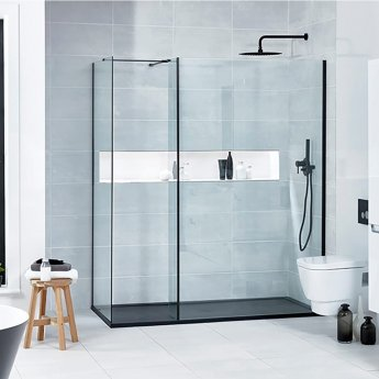 Verona Aquaglass+ L Shape Walk-in Shower Panel 800mm Wide - 8mm Glass
