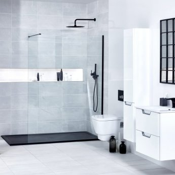 Verona Aquaglass+ Walk-In Shower Panel 1400mm Wide - 10mm Clear Glass