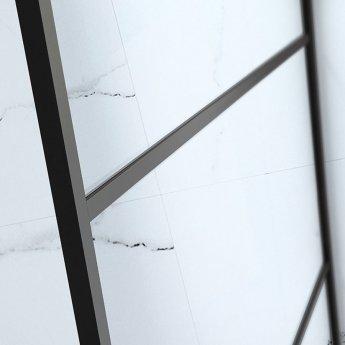Verona Aquaglass Velar Black Crittall Walk-in Shower Panel 1000mm Wide with Stabilising Bar - 8mm Glass