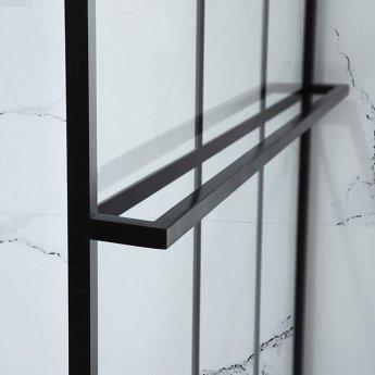 Verona Aquaglass Velar Black Crittall Walk-in Shower Panel 1200mm Wide with Towel Rail - 8mm Glass