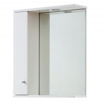 Verona Aquapure 1-Door LED Illuminated Mirrored Bathroom Cabinet 700mm H x 600mm W - Gloss White