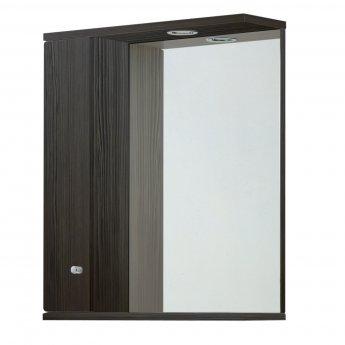 Verona Aquapure 1-Door LED Illuminated Mirrored Bathroom Cabinet 700mm H x 600mm W - Avola Grey