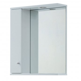 Verona Aquapure 1-Door LED Illuminated Mirrored Bathroom Cabinet 700mm H x 700 W - Pearl Grey