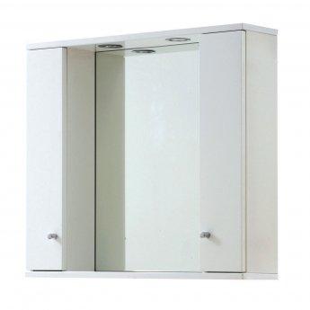 Verona Aquapure 2-Door LED Illuminated Mirrored Bathroom Cabinet 700mm H x 1000mm W - Gloss White